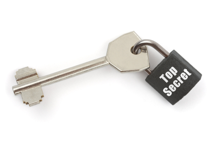 Key and lock Top Secret isolated on white background